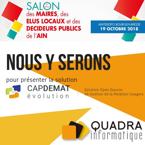 Salon des maires Ain 2018 Quadra Informatique GRU Capdémat Evolution