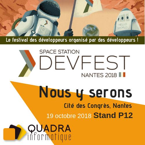 DevFest 2018 : rencontrez l'agence Nantaise de Quadra Informatique le 19 octobre prochain