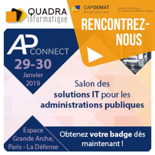 Quadra Informatique et CapDémat Evolution au salon AP Connect 2019